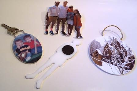 photo sculptures key ring, ornament, pin & magnet